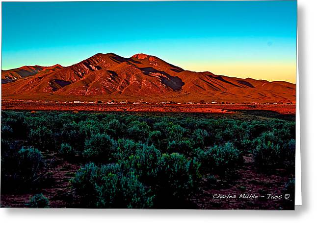 Taos Sunset Greeting Card by Charles Muhle