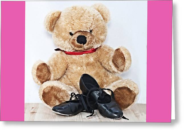 Tap Dance Shoes And Teddy Bear Dance Academy Mascot Greeting Card by Pedro Cardona