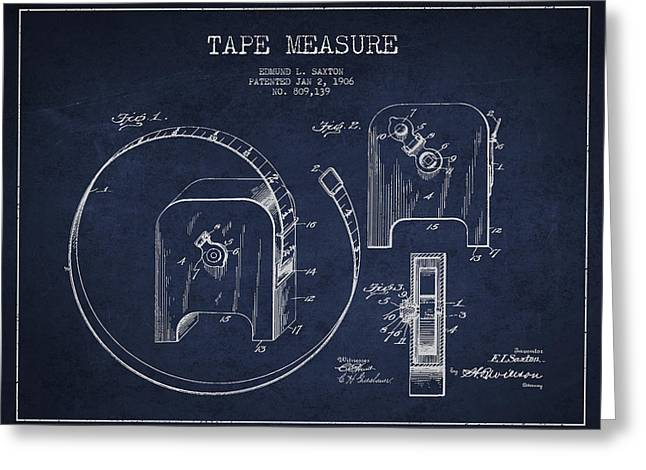 Tape Measure Patent Drawing From 1906 Greeting Card by Aged Pixel