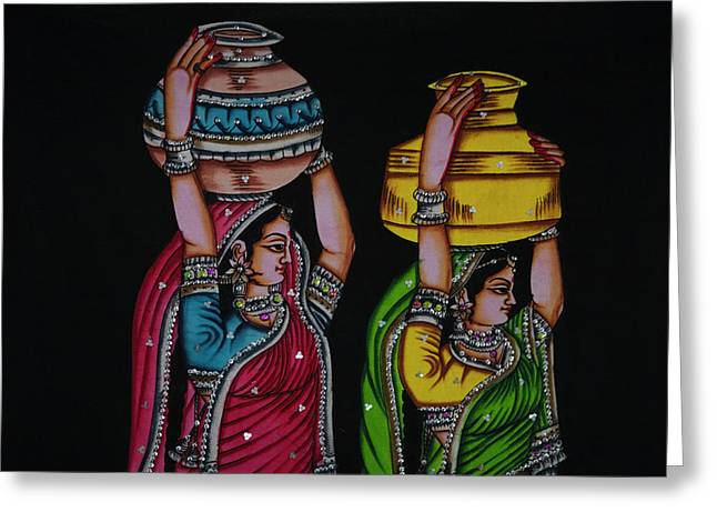 Tapestry Depicting Indian Girls Greeting Card by Keren Su