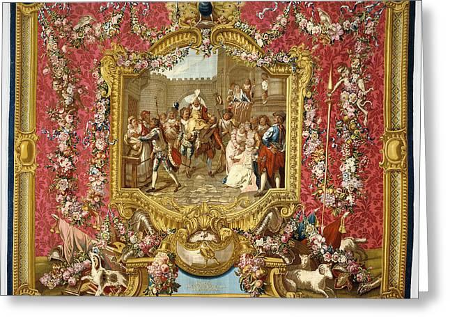 Tapestry Lentrée De Sancho Dans Lile De Barataria Greeting Card