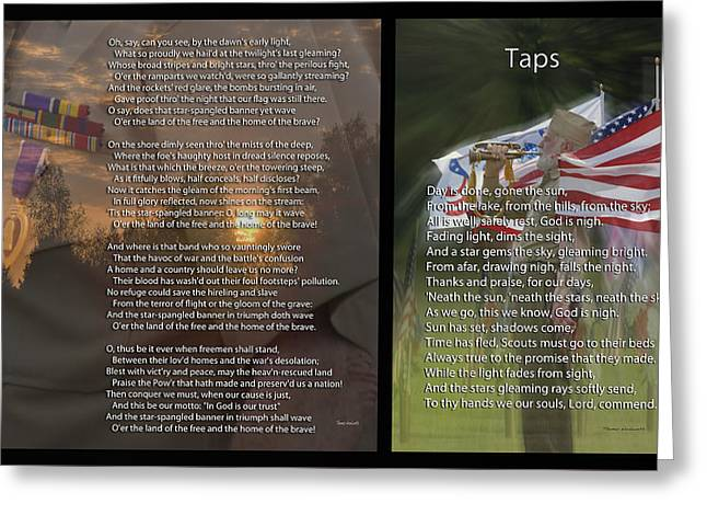Taps And The Star Spangled Banner 2 Panel Greeting Card by Thomas Woolworth