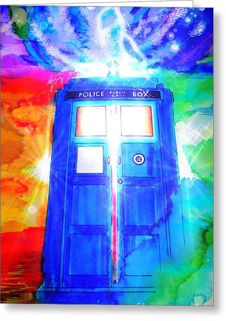 Tardis Greeting Card by Justin Moore