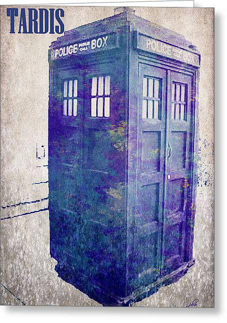 Tardis Greeting Card by Paulette B Wright