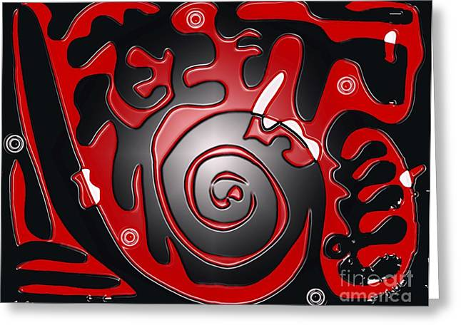 Target Practice. Red On Black Greeting Card by Cathy Peterson