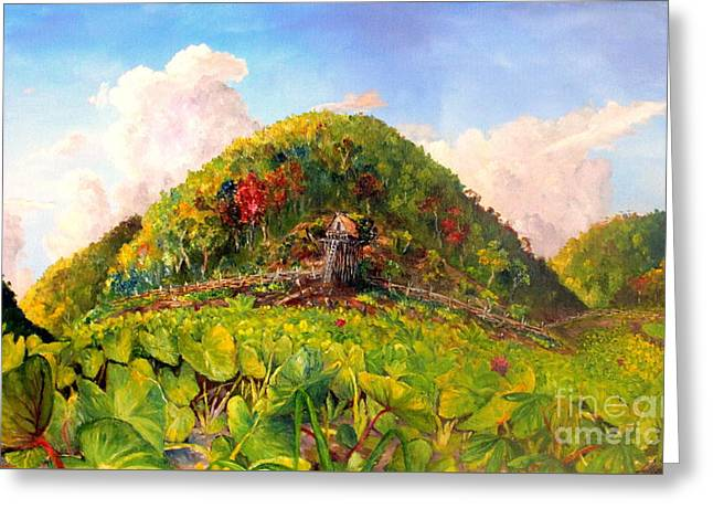 Greeting Card featuring the painting Taro Garden Of Papua by Jason Sentuf