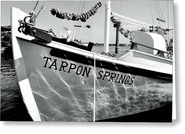 Tarpon Springs Spongeboat Black And White Greeting Card by Benjamin Yeager
