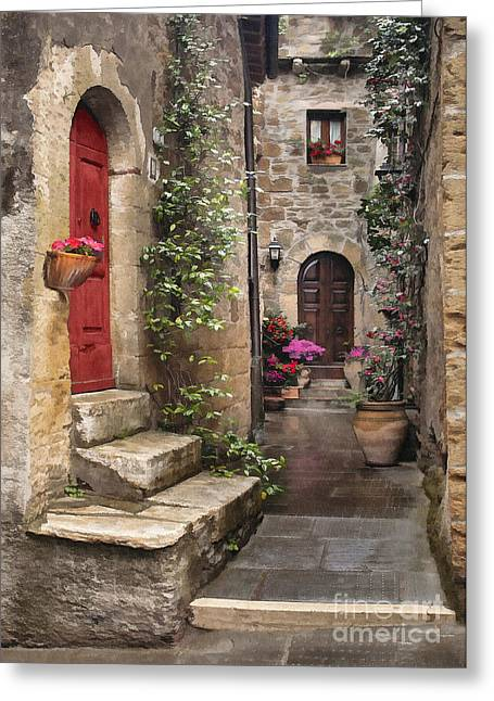 Tarquinian Red Door Greeting Card