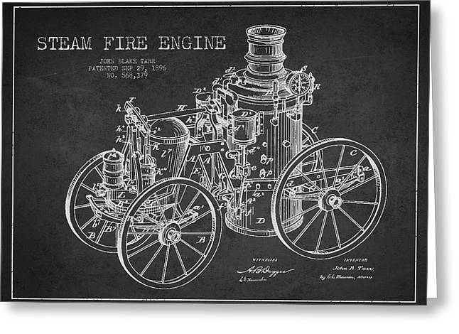 Tarr Steam Fire Engine Patent Drawing From 1896 - Dark Greeting Card