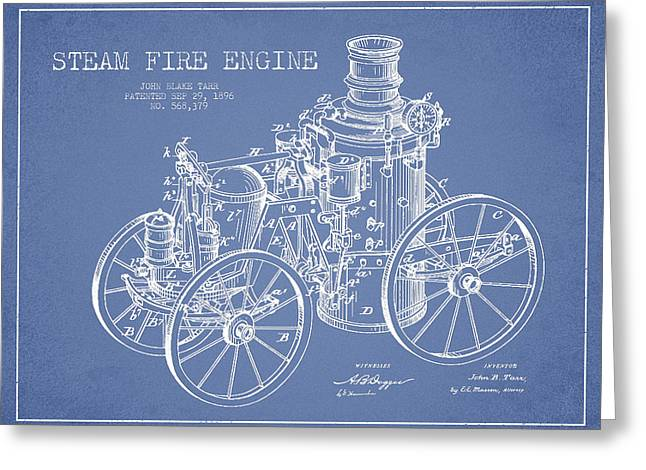 Tarr Steam Fire Engine Patent Drawing From 1896 - Light Blue Greeting Card