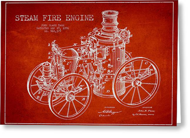 Tarr Steam Fire Engine Patent Drawing From 1896 - Red Greeting Card