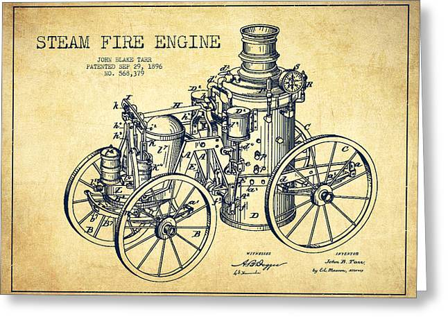 Tarr Steam Fire Engine Patent Drawing From 1896 - Vintage Greeting Card