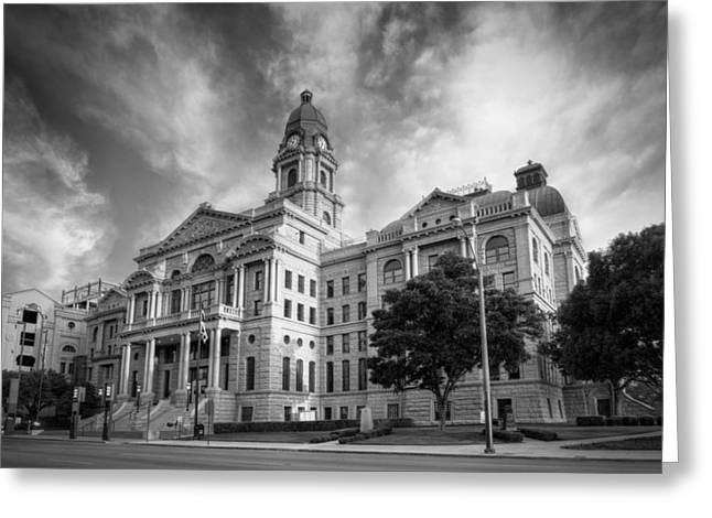 Tarrant County Courthouse Bw Greeting Card by Joan Carroll