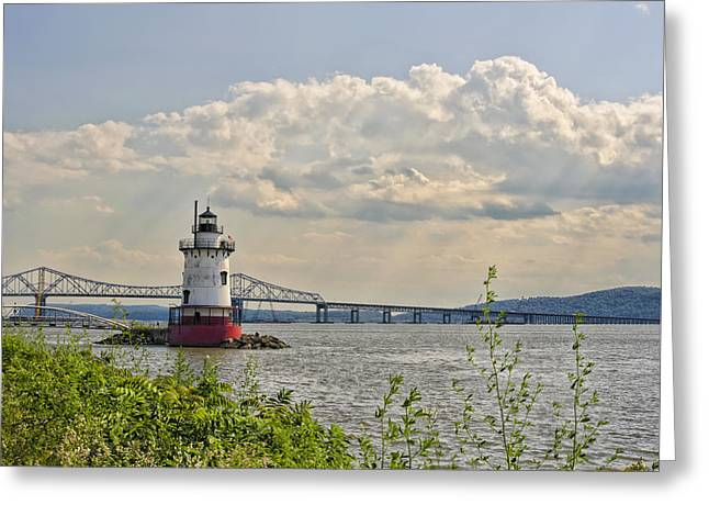 Tarrytown Lighthouse And Tappan Zee Bridge Sleepy Hollow Ny Greeting Card