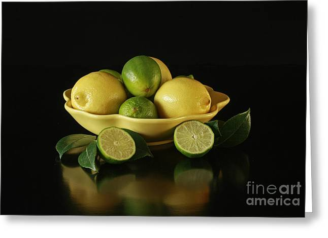 Tart And Tasty With Lemon And Lime Greeting Card by Inspired Nature Photography Fine Art Photography
