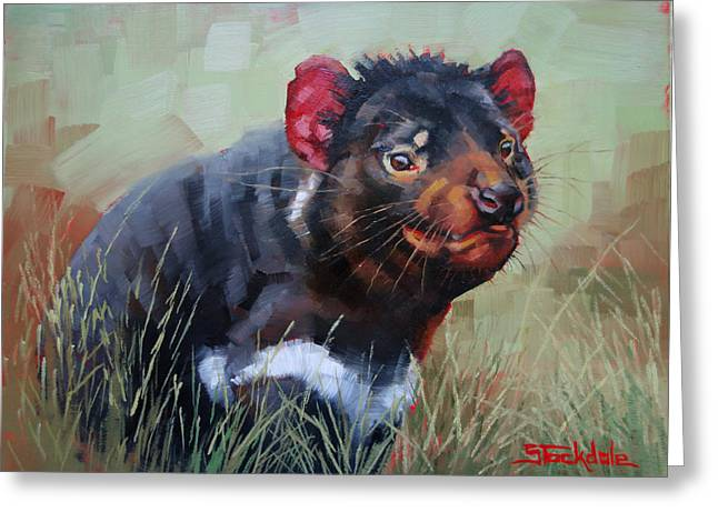 Tasmanian Devil Greeting Card by Margaret Stockdale