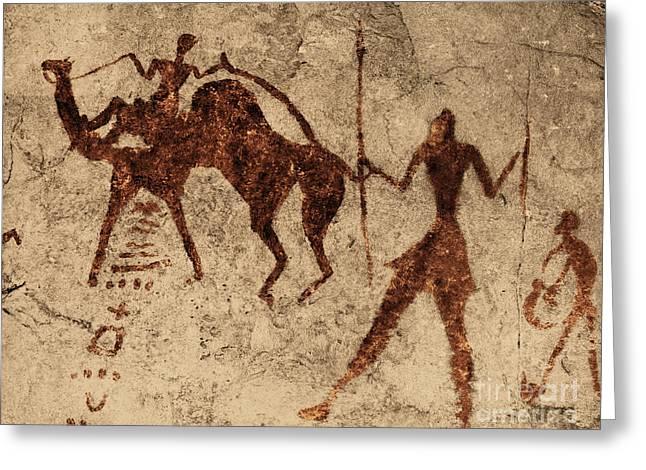 Tassili Najjer Rock Painting Algeria Greeting Card by George Holton