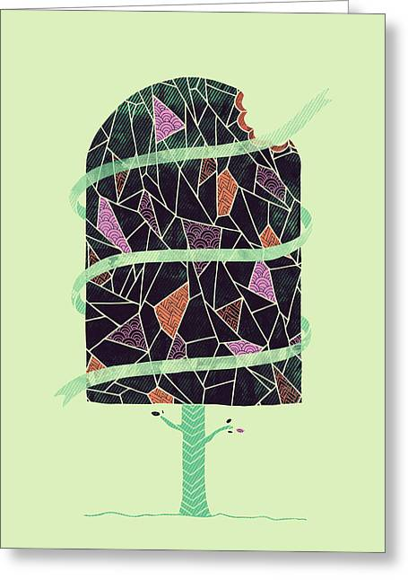 Tasty Tree Greeting Card by Hector Mansilla