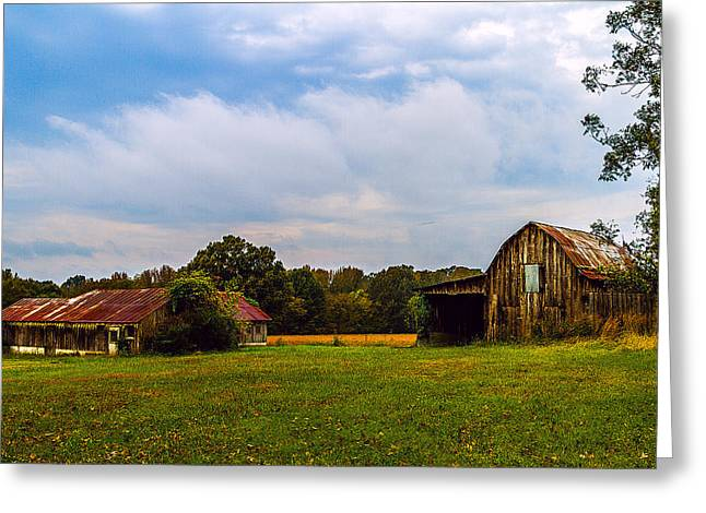 Tate Country Barns - Rural Landscape Greeting Card by Barry Jones