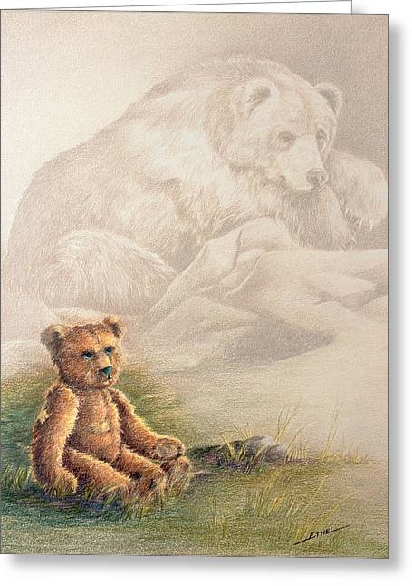 Greeting Card featuring the drawing Tattered Bear by Judi Quelland