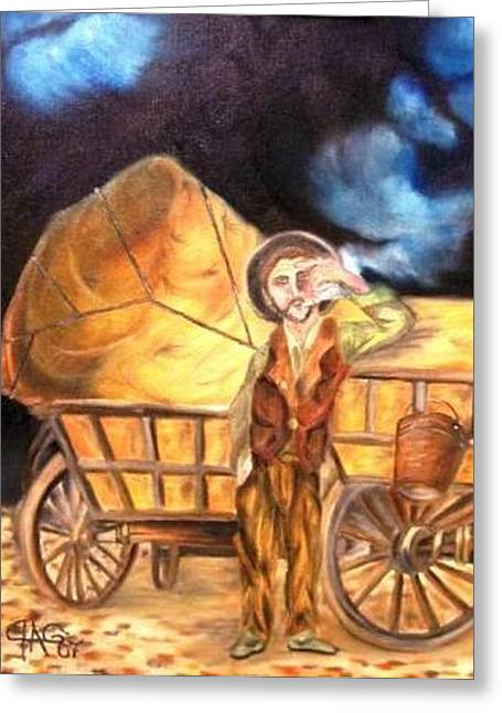 Tattered Canvas Aka Romani Messiah Greeting Card by The GYPSY And DEBBIE