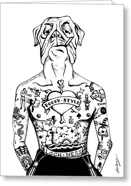 Tattooed Dog Poster Greeting Card