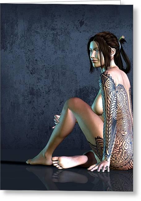 Tattooed Nude 3 Greeting Card by Kaylee Mason