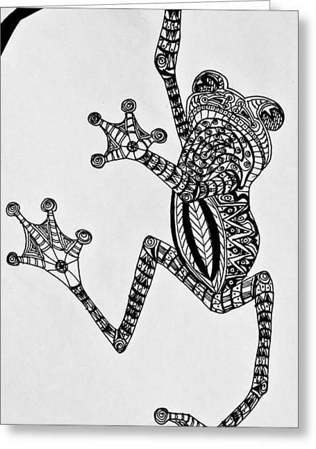 Tattooed Tree Frog - Zentangle Greeting Card