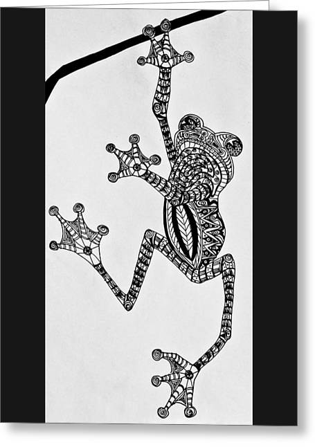 Tattooed Tree Frog - Zentangle Greeting Card by Jani Freimann