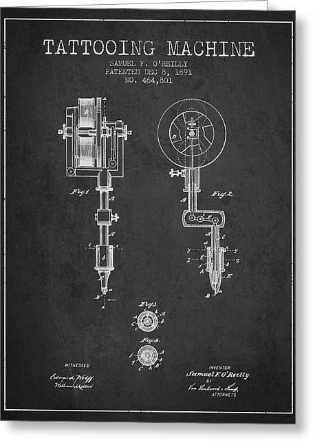 Tattooing Machine Patent From 1891 - Charcoal Greeting Card by Aged Pixel