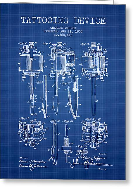 Tattooing Machine Patent From 1904 - Blueprint Greeting Card by Aged Pixel