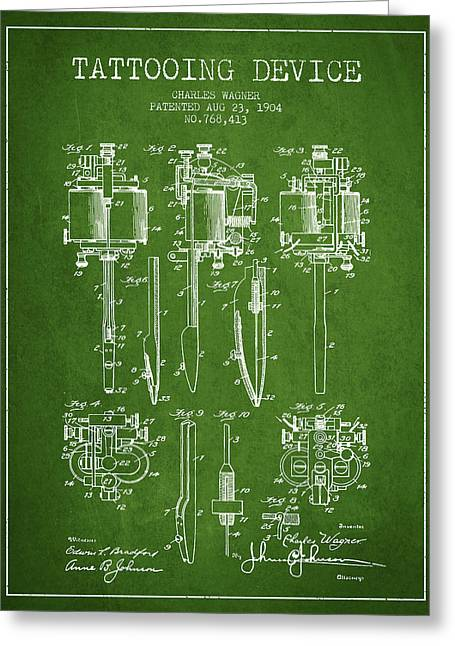 Tattooing Machine Patent From 1904 - Green Greeting Card by Aged Pixel