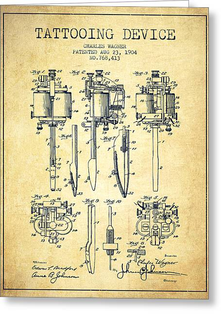 Tattooing Machine Patent From 1904 - Vintage Greeting Card