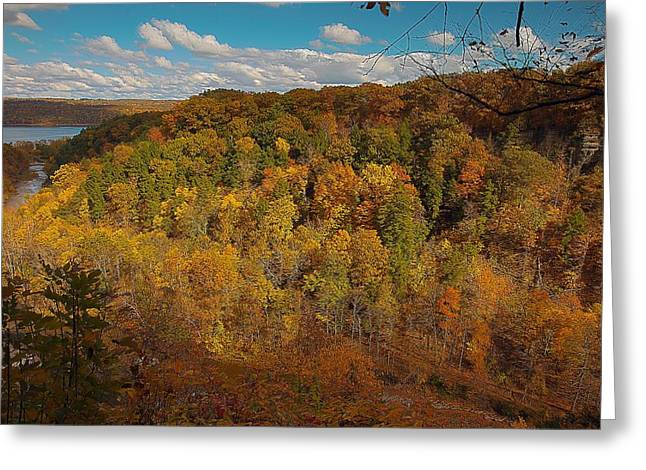 Greeting Card featuring the photograph Taughannock River Canyon In Colorful Fall Ithaca New York II by Paul Ge