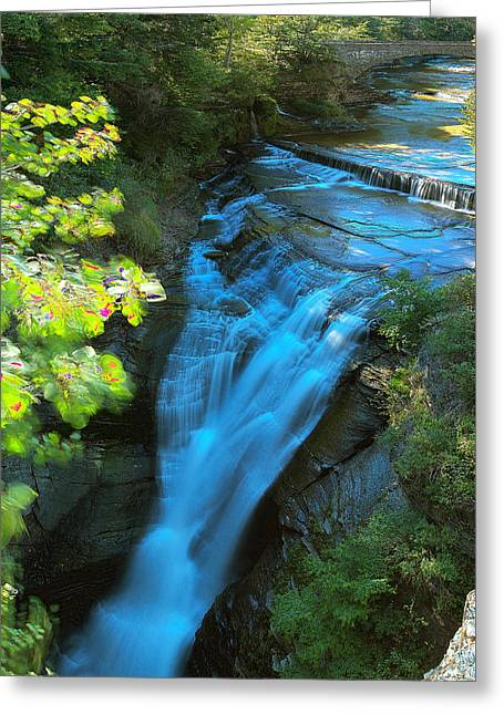Taughannock Upper Falls Ithaca New York Greeting Card by Paul Ge