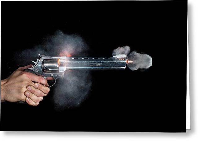 Taurus Handgun Shot Greeting Card by Herra Kuulapaa � Precires