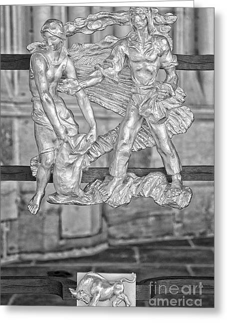 Taurus Zodiac Sign - St Vitus Cathedral - Prague - Black And White Greeting Card by Ian Monk