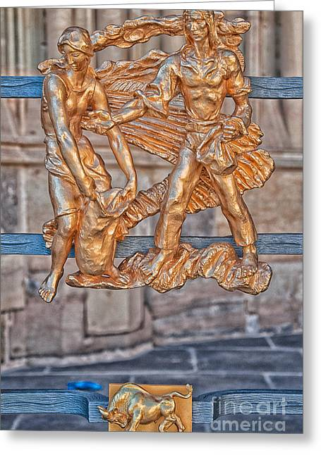 Taurus Zodiac Sign - St Vitus Cathedral - Prague Greeting Card by Ian Monk