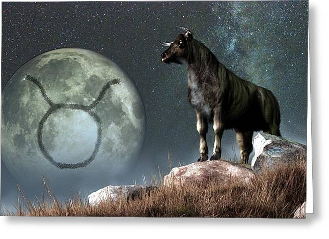 Taurus Zodiac Symbol Greeting Card by Daniel Eskridge