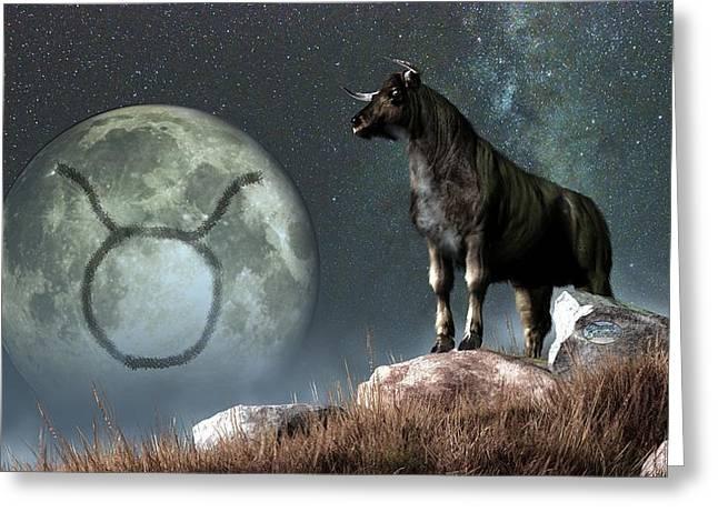 Taurus Zodiac Symbol Greeting Card by Daniel Eskridge