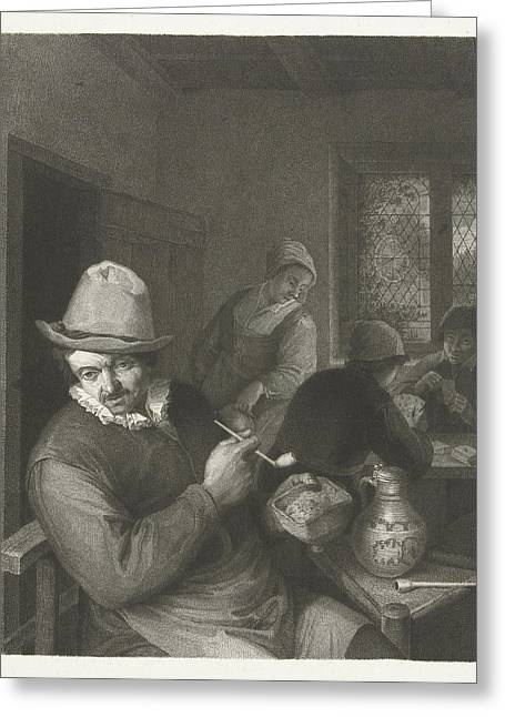 Tavern Scene With Man With A Pipe, Lambertus Antonius Greeting Card