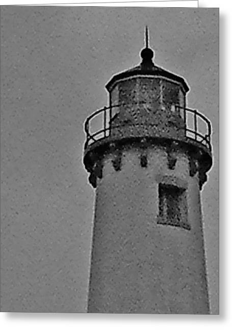 Greeting Card featuring the photograph Tawas Point In The Rain by Daniel Thompson