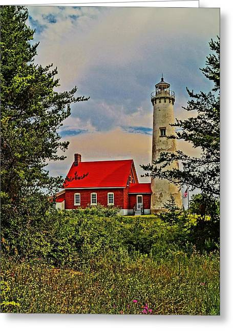 Tawas Point Light Retro Mode Greeting Card