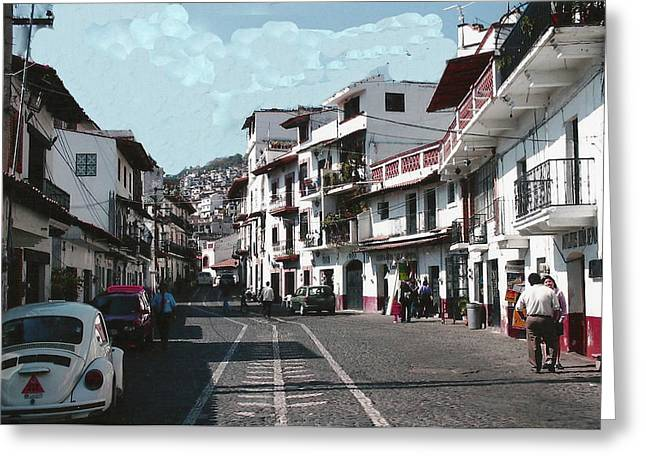 Taxco Street Scene Greeting Card by Dody Rogers