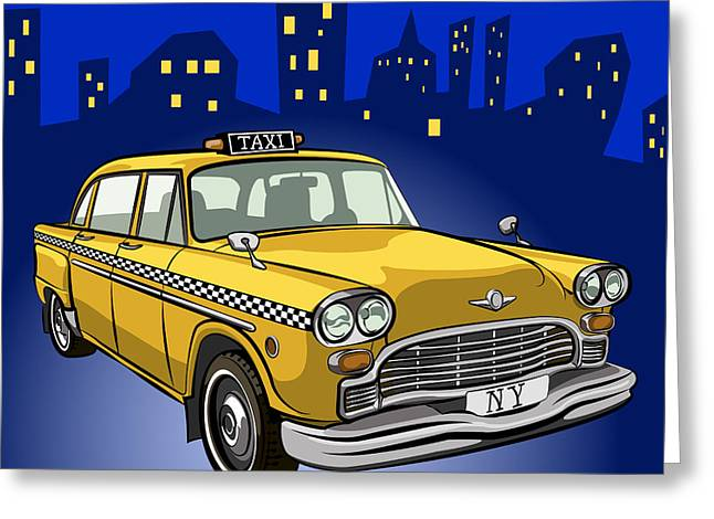 Taxi Cab Greeting Card by Volodymyr Horbovyy