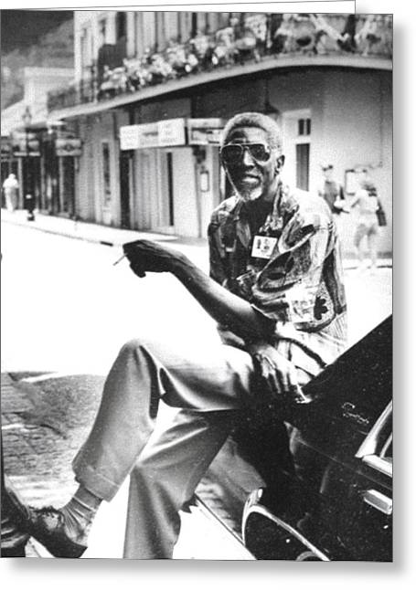 Taxi Driver In New Orleans Circa 2000 Greeting Card by Michael Morgan