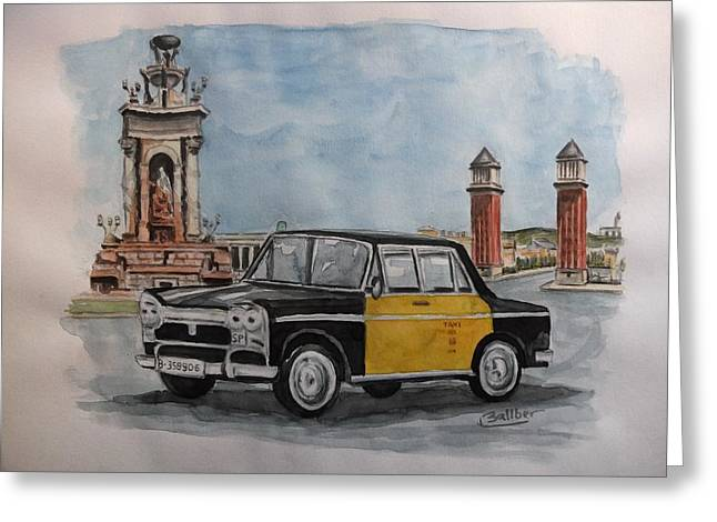 Taxi Greeting Card by Frederic Ballber