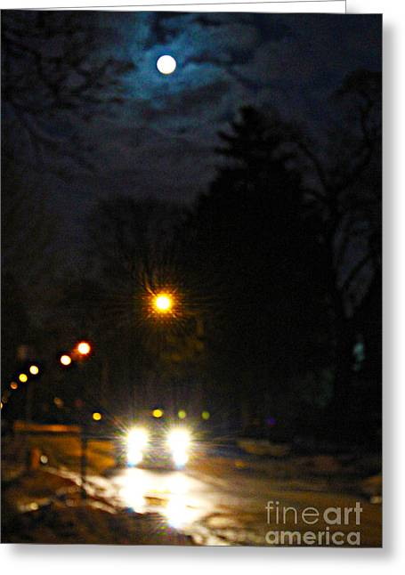 Greeting Card featuring the photograph Taxi In Full Moon by Nina Silver