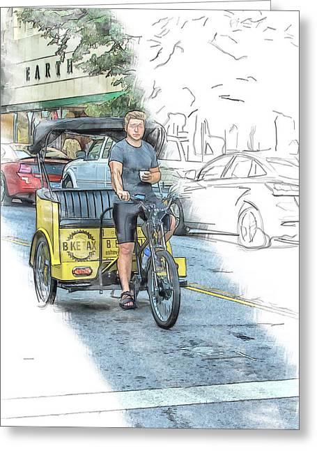 Taxi Greeting Card by John Haldane