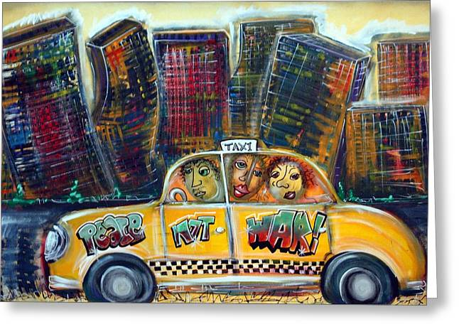 Taxi Greeting Card by Laura Barbosa